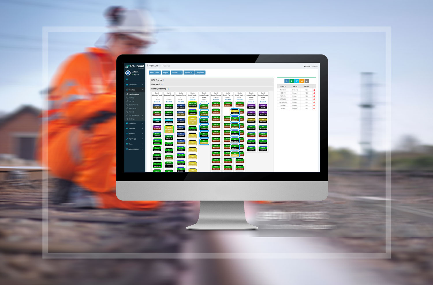 The track map's color coded system displays key identifiers for railcars to make managing the yard easier