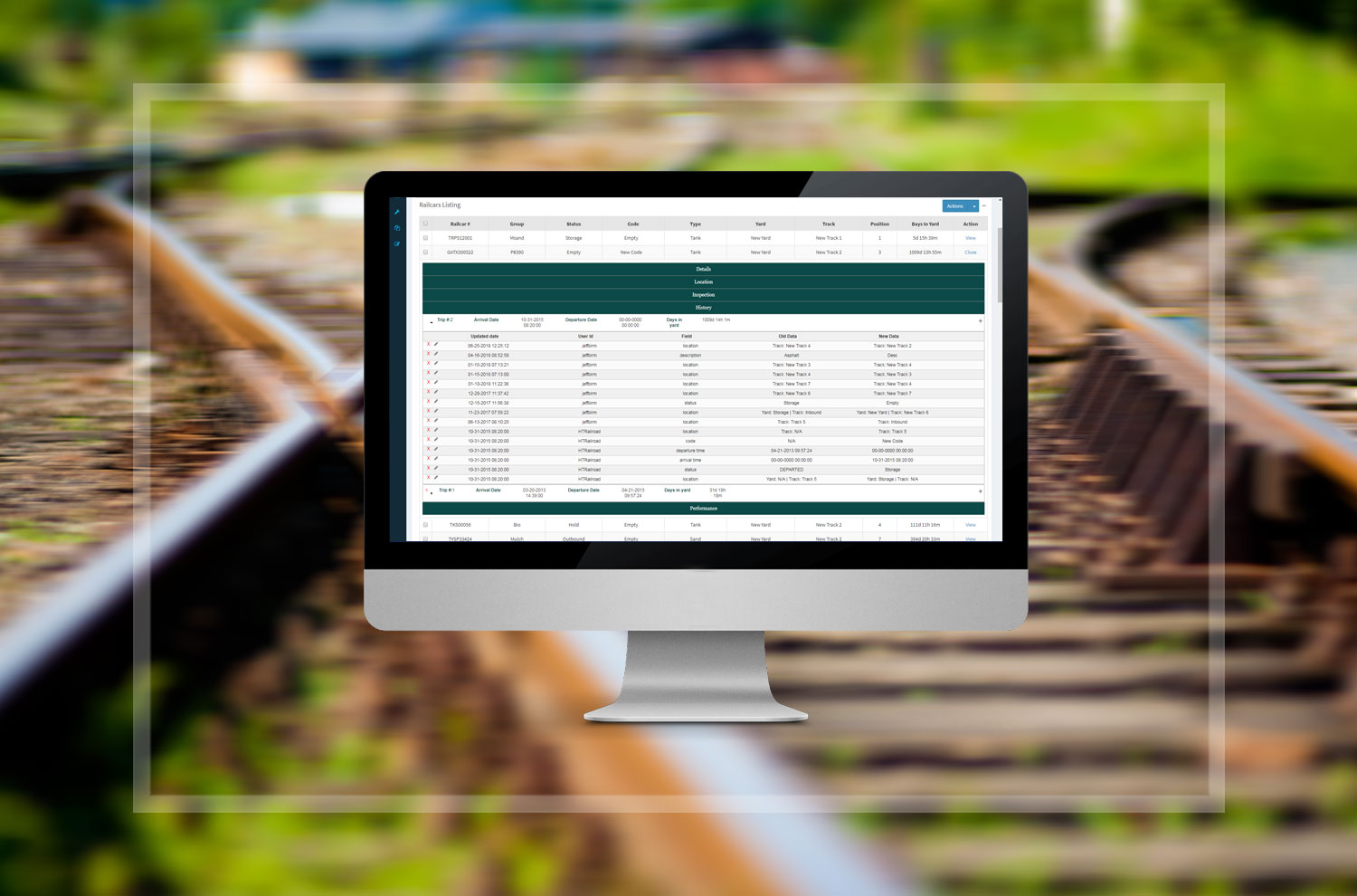 Railcar Historical Tracking gives administrators visibility into the actions of their employees and a view of the whole life cycle in a railcar facility within a trip