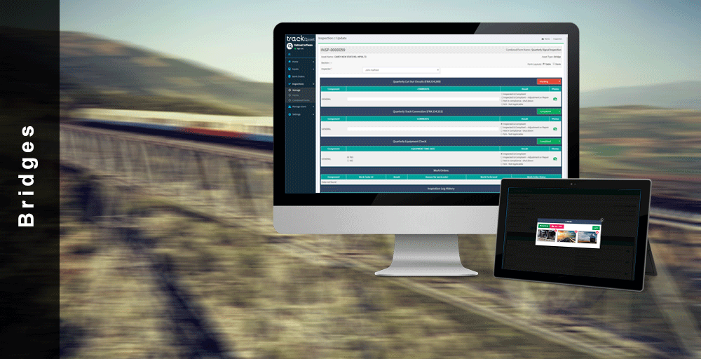 The railroad asset management application is able to inspect bridges and their components to make it easier for inspectors to go through and complete inspections