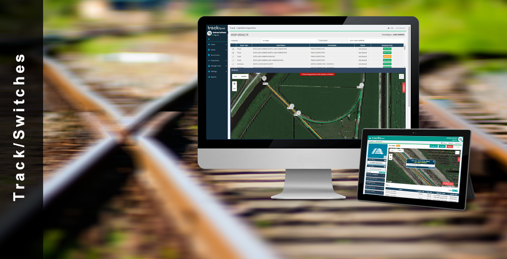 Track and Switches are mapped out in the application by GPS coordinates