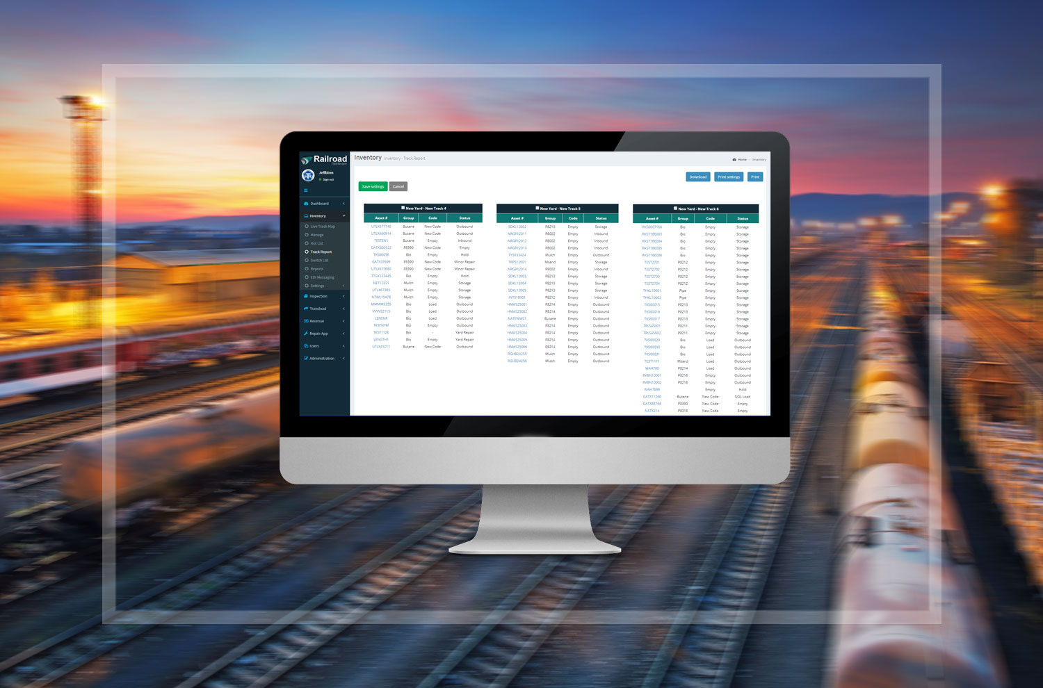 Custom building of forms and reports gives great flexibility to railroading companies large and small